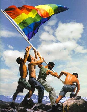 Homosexuals mock the raising of the flag over Iwo Jima by heroic Marines during WWII.