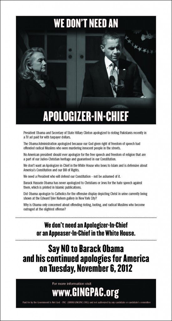 Ad exposing Barack Obama as the apologizer in chief