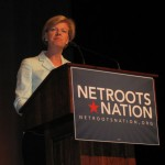 Lesbian activist Tammy Baldwin speaks to her leftist Nutroots allies.