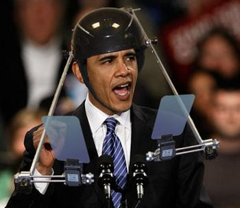 obama teleprompter helmet