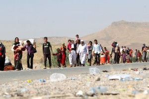 Yazidis fleeing from Islamic State terrorists.