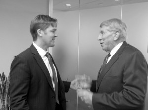 Newly elected Senator Ben Sasse and William Murray discuss the issues at a meeting on Capitol Hill.